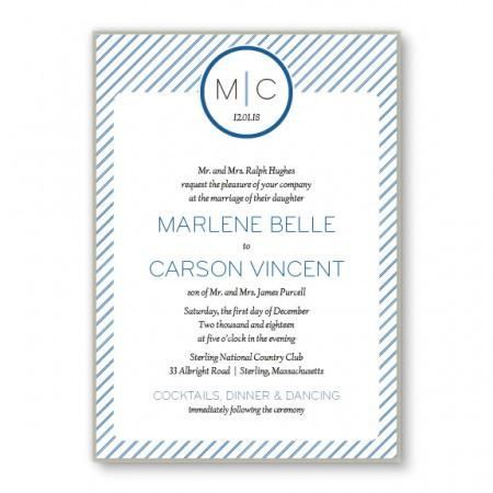 Pinstripe 2-Layer Monogrammed Wedding Invitations