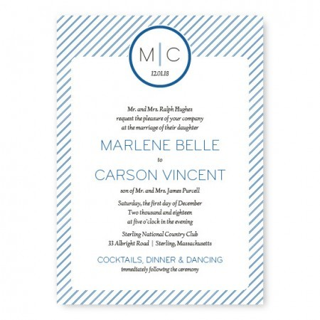 Pinstripe Monogrammed Wedding Invitations