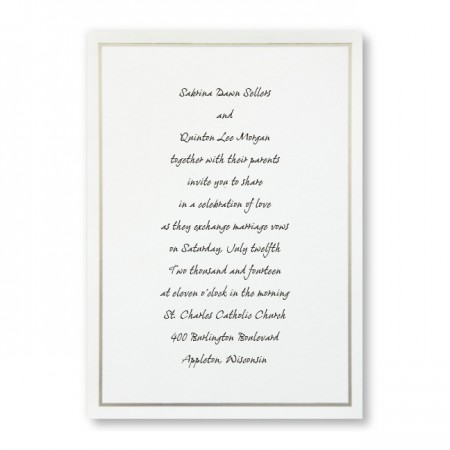 Platinum Silver Border Wedding Invitations