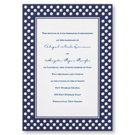 Polished Polka Dots Navy Blue Wedding Invitations