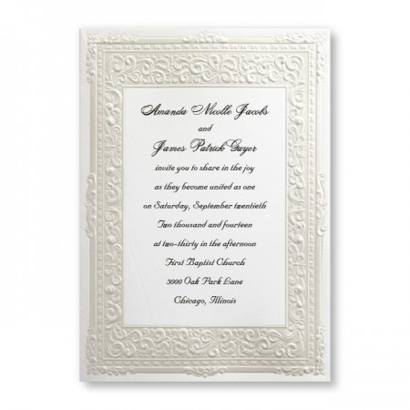 Pure Romance Pearl Border Wedding Invitations
