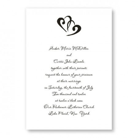 Rectangle Marvelous Motif Heart Wedding Invitations