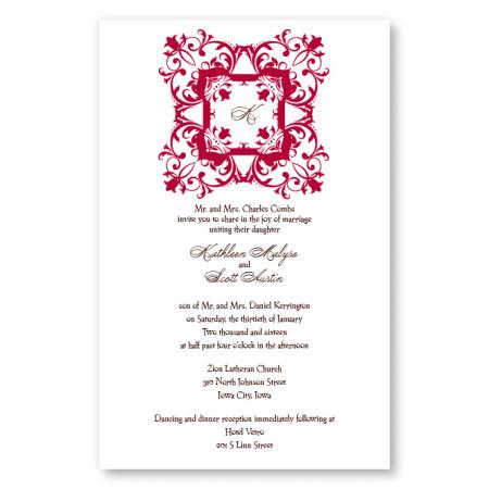 Regal Frame Initial Letterpress Wedding Invitations