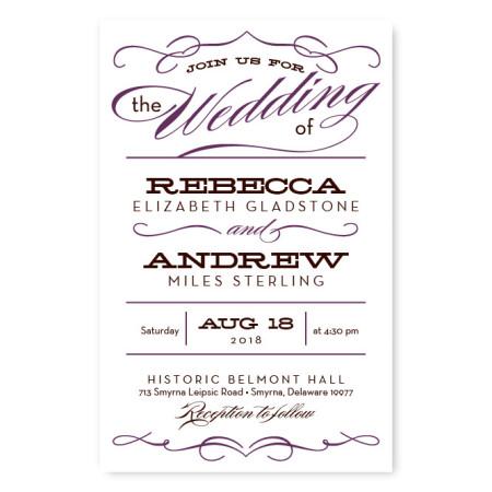 Retro Vintage Letterpress Wedding Invitations