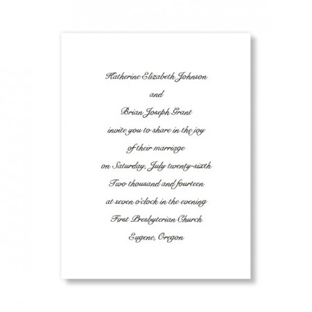 Simplicity White Classic Wedding Invitations