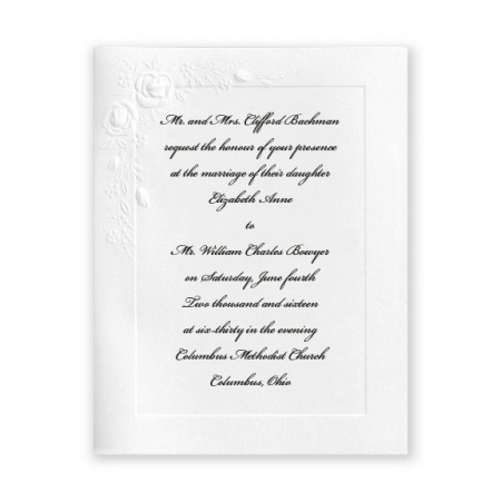 Small Embossed Roses White Wedding Invitations