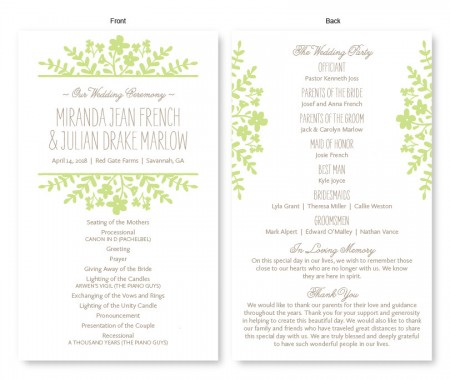 Spring Flora Wedding Program