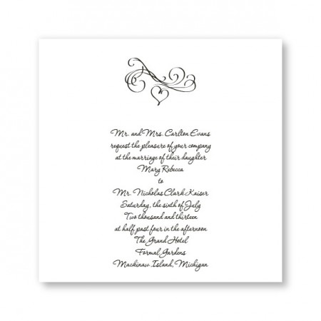 Square Marvelous Motif Heart Wedding Invitations