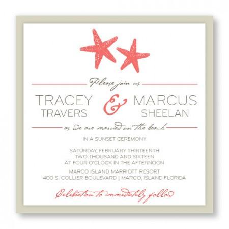 Starfish 2-Layer Square Beach Wedding Invitations