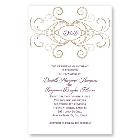 Striking Flourish Initial Letterpress Wedding Invitations