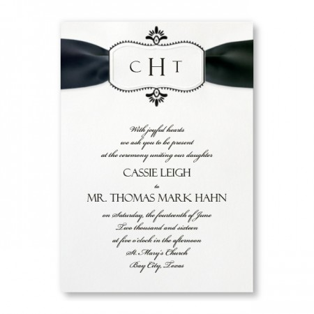 Stylish Frame White Monogram Wedding Invitations