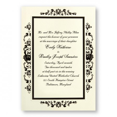 Subtle Damask Black Wedding Invitations