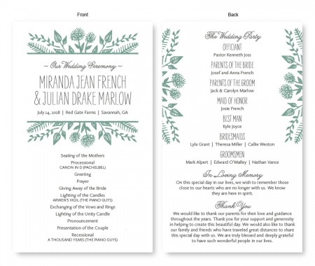 Summer Flora Wedding Program
