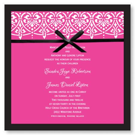 Swag of Hearts Hot PinkWedding Invitations