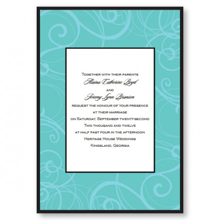 Swirls Seafoam Wedding Invitations