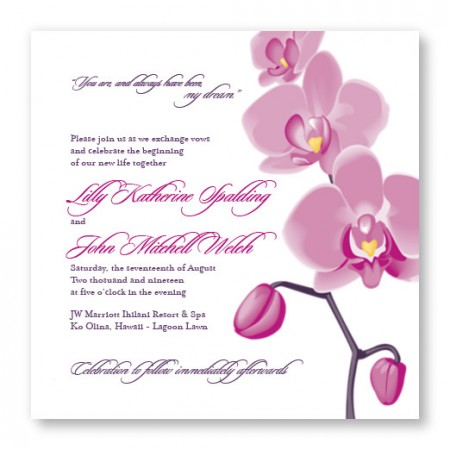 Tropical Orchid Square Floral Wedding Invitations
