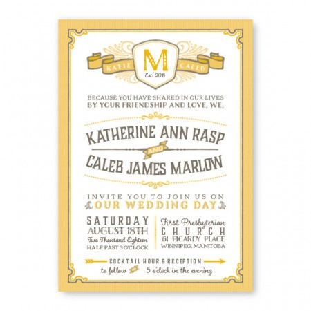 Vintage Monogram Wedding Invitations