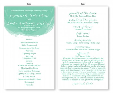 Watercolor Swirl Wedding Program