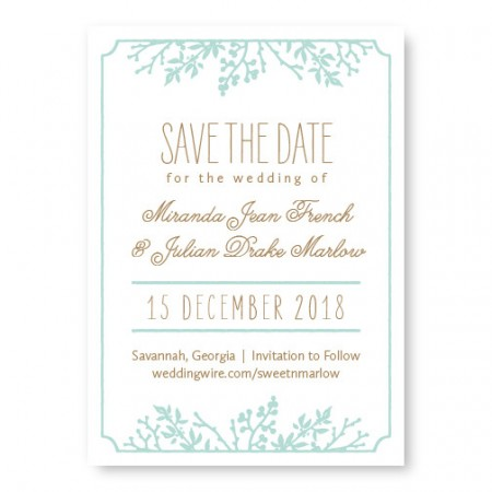 Winter Flora Save The Date Cards