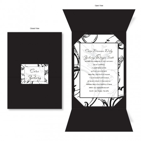 Wrapped in Love Black Folio Wedding Invitations