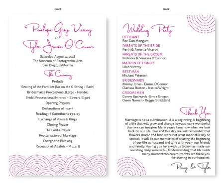 Scallop Wedding Program