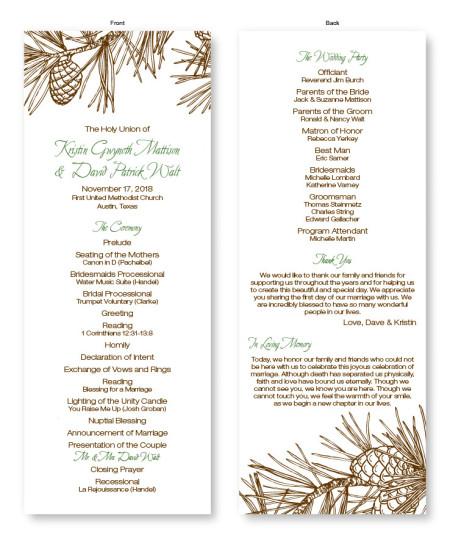 Pine Wedding Program