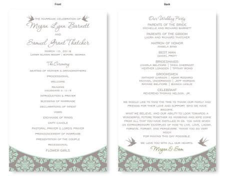 Two Birds Wedding Program