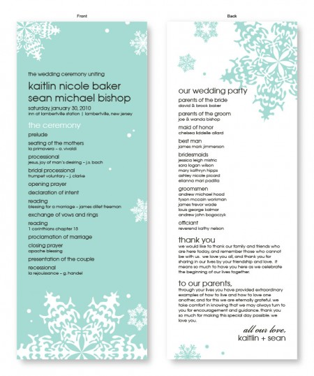 Falling Snow Wedding Program