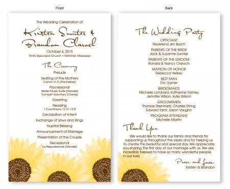 Sunflower Wedding Program
