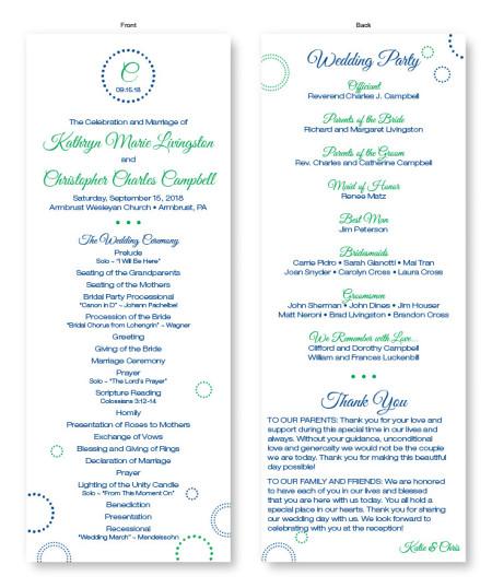 Circles and Dots Wedding Program