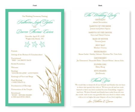 Classic Coastal Wedding Program