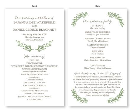 Verdant Wedding Program