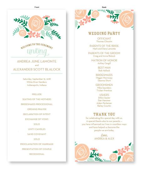 Floral Cluster Wedding Program