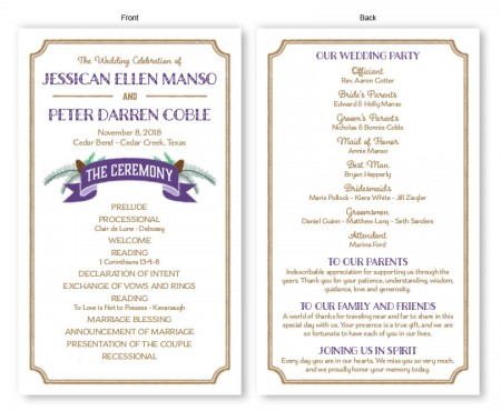 Evergreen Banner Wedding Program