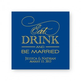 """Eat Drink and Be Married 2 1/2"""" Square Sticker"""