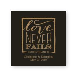 """Love Never Fails 2 1/2"""" Square Sticker"""
