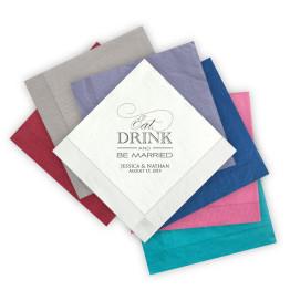 Eat Drink and Be Married Letterpress Beverage Napkins