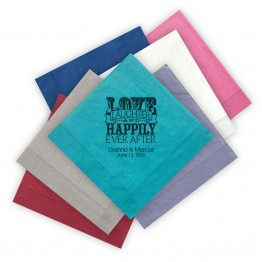 Love Laughter and Happily Letterpress Luncheon Napkins