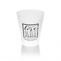 Love Never Fails Clear or Frosted Plastic Tumblers