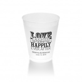 Love Laughter and Happily Clear or Frosted Plastic Tumblers