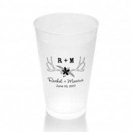 Rustic Antler Monogram Clear or Frosted Plastic Tumblers