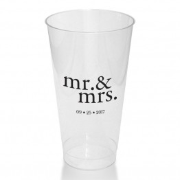 Mr. & Mrs. Clear or Frosted Plastic Tumblers
