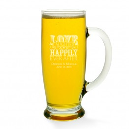 Love Laughter and Happily Beer Mug