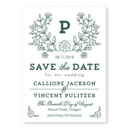 Garden Monogram Letterpress Save the Date