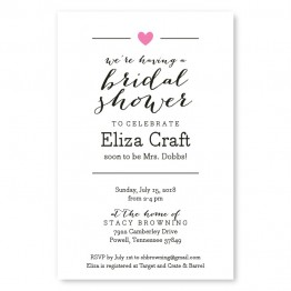 Simple Heart Bridal Shower Invitations