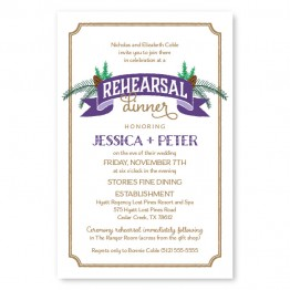 Evergreen Banner Rehearsal Dinner Invitations