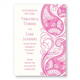 Paisley Garden Thermography Save the Date Cards