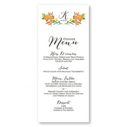 Floral Monogram Menu Cards