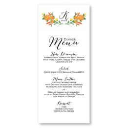 Floral Monogram Menu Cards