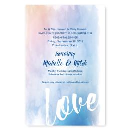 Watercolor Love Rehearsal Dinner Invitations
